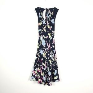 MOSCHINO  100% silk Black Butterfly Floral Dress 6